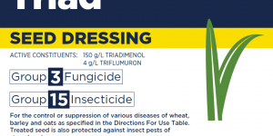 For the control or suppression of various diseases of wheat, barley and oats as specified in the Directions For Use Table. Treated seed is also protected against insect pests of stored grain.